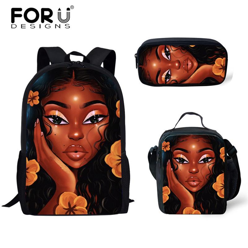 FORUDESIGNS High School Bags African Black Girls Hairstyle Scool Bag For Girl Cute School Bags Backpack Child Cool Bag