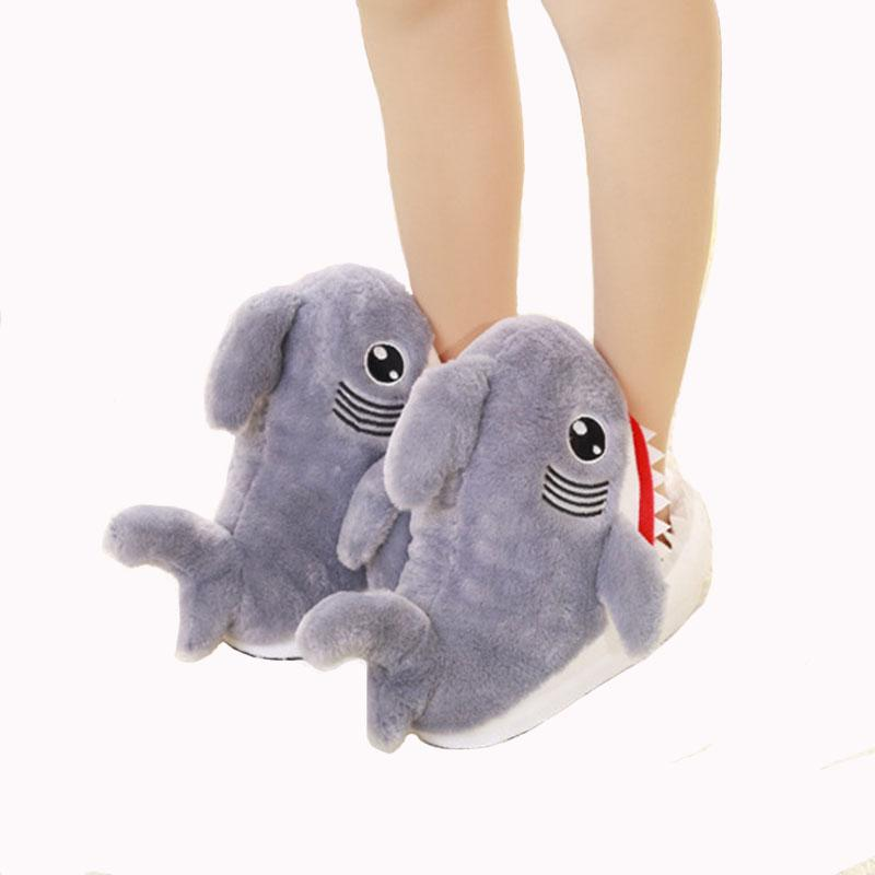 Explosive Cartoon Plush Shark Slippers Female Shark Head Home Women S Shoes  Warm Plush Slippers Ladies Cute Cotton Shoes Moccasins Thigh High Boots  From ... 9670ebc92e