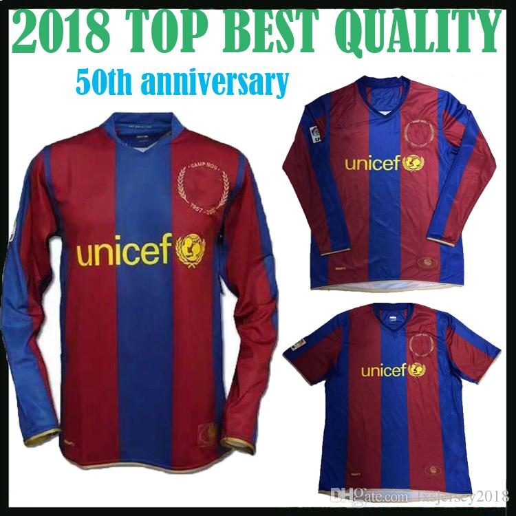 2019 50th Anniversary Edition Barcelona Long Sleeve Soccer Jersey MESSI  SUAREZ Futbo COUTINHO 18 19 Home Retro Short Sleeve Football Shirt Sales  From ... c6d11bb4b