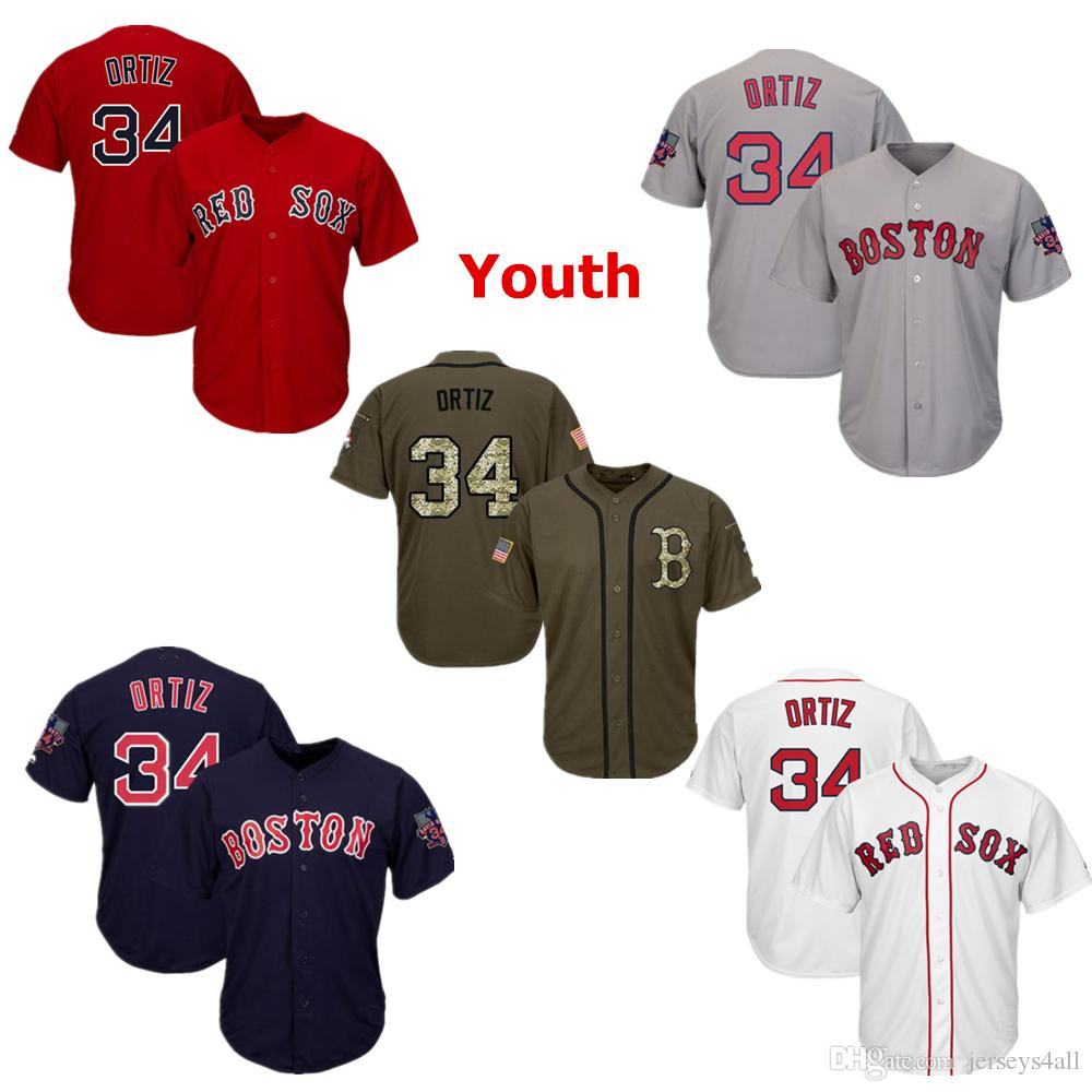 8f9df9dc2 Youth Kids Child Boston Red Sox 34 Baseball Jerseys David Ortiz Red White  Navy Gray Grey Jersey Green Salute Players Weekend All Star UK 2019 From ...