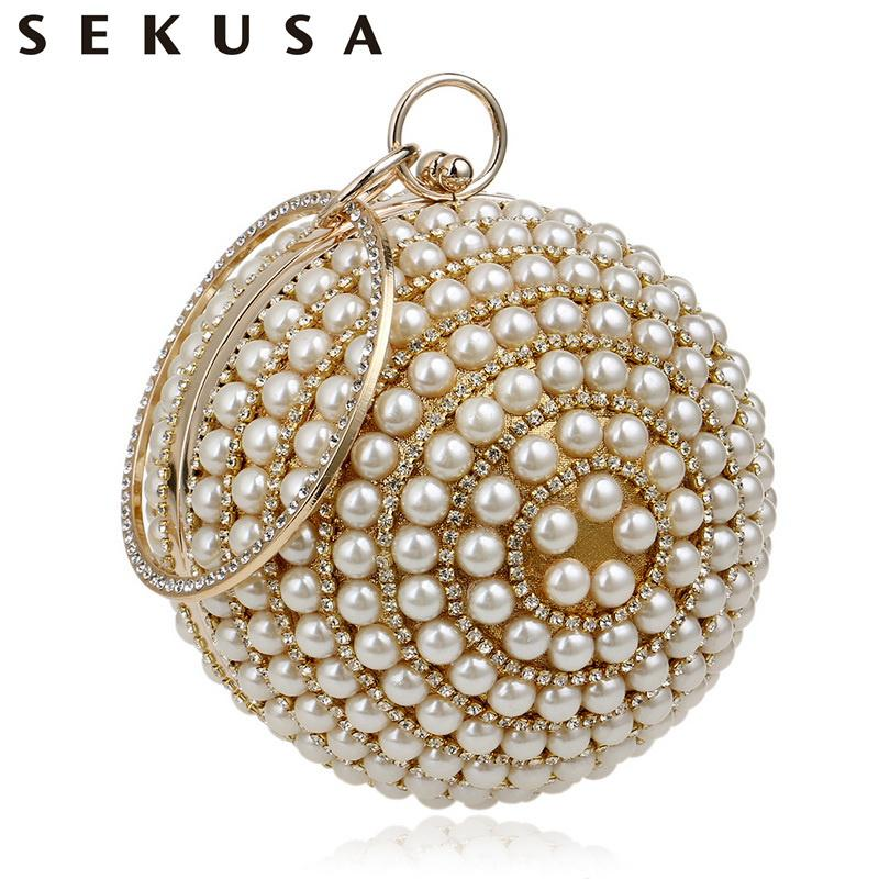 Sekusa Women's Pearl Beaded Evening Bags Pearl Beads Clutch Bags Handmade Wedding Bags Beige, Black Quality Assurance J190514