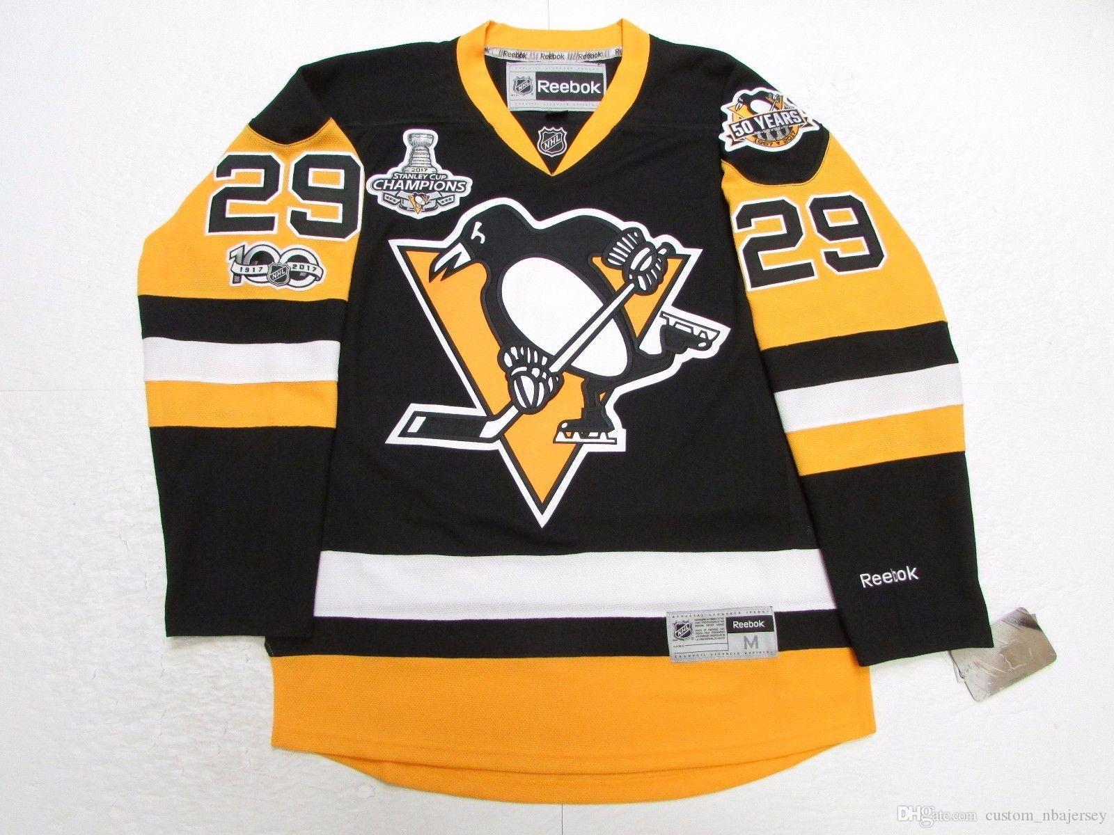 super popular b9b7b 5a10a Cheap custom MARC-ANDRE FLEURY PITTSBURGH PENGUINS 2017 STANLEY CUP  CHAMPIONS JERSEY stitch add any number any name Hockey Jersey XS-5XL
