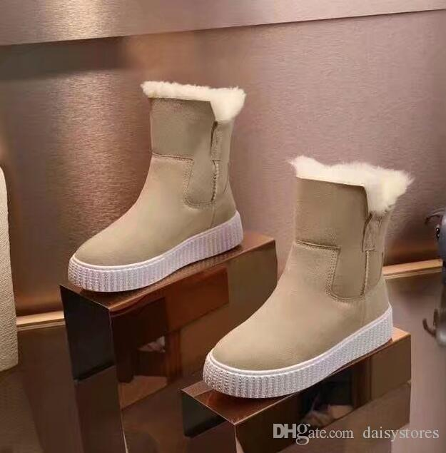 bb4077e9a76 2018 New Hidden Wedge Winter Warm Snow Boots Fur Height Increasing  Motorcycle Boots Lace Up Ankle Booties Black Brown Plush Inside