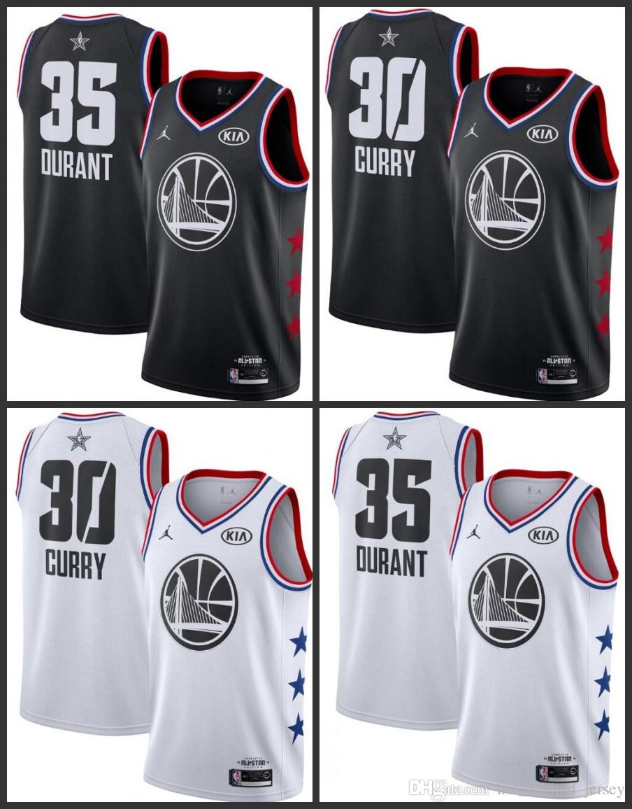 brand new 8a58c 868f3 2018-19 All Star Golden State Men warriors Basketball Jerseys Kevin Durant  Stephen Curry Black white Jersey