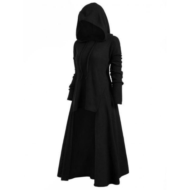 Versuchen Sie alles lange schwarze Gothic Kleid Frauen mit Kapuze Punk Kleidung Stil plus Größe Strickkleider für Frauen Winter 2019 4xl 5xl Y190425