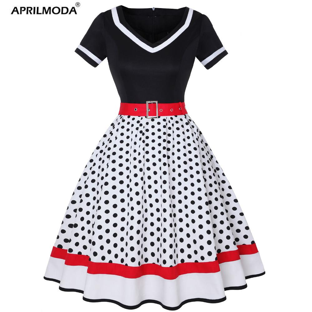 d3dbd386823 Polka Dot Print Vintage Dress 4XL Plus Size Women V Neck Belt A Lined Swing  Dress Hepburn Pin Up 50s Party Dresses Vestidos White Dress Woman Long Dress  ...