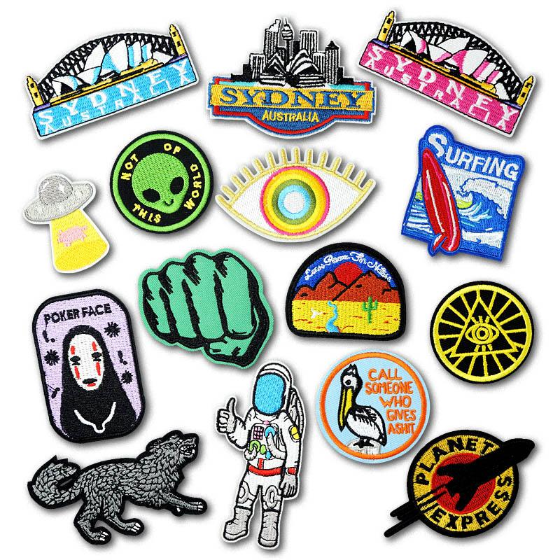 UFO Alien EYES DIY Cloth Badges Mend Decorate Iron On Patch Clothes Apparel  Sewing Decoration Applique Sew On Patches