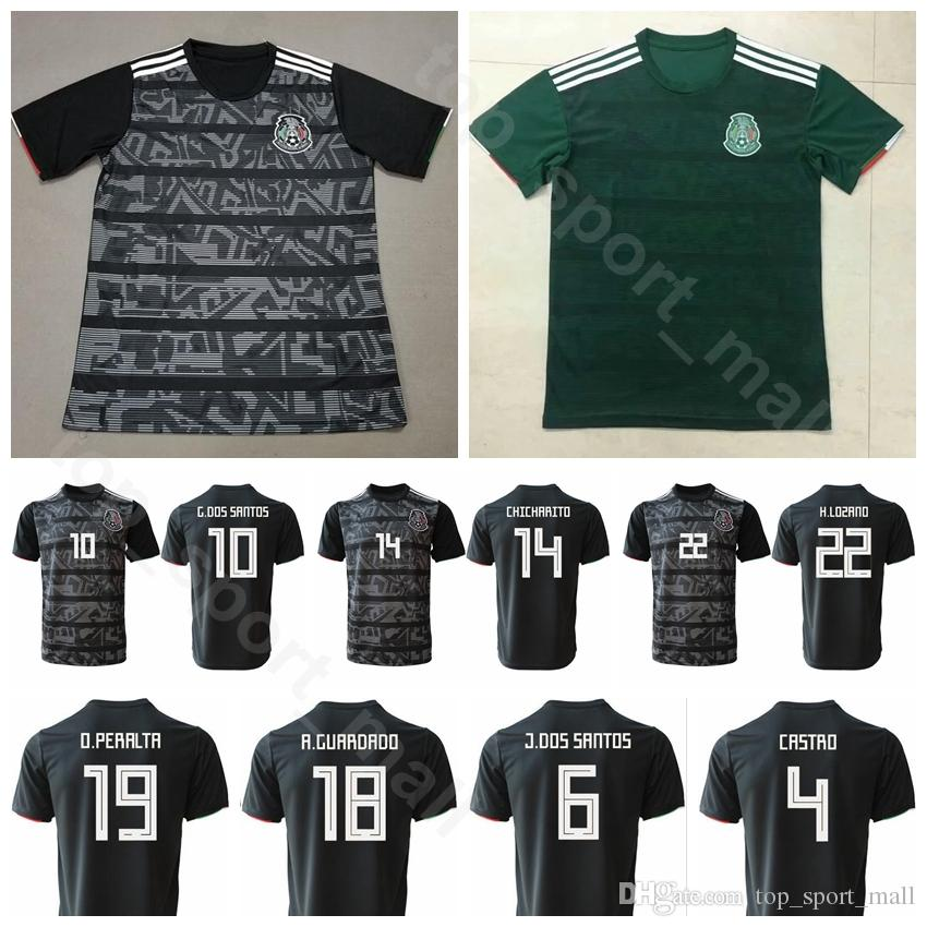 finest selection ce628 cd843 2019 Mexico Soccer Jersey Men 22 LOZANO 10 SANTOS 14 CHICHARITO 19 PERALTA  18 GUARDADO Football Shirt Kits Uniform Home Black Green Away