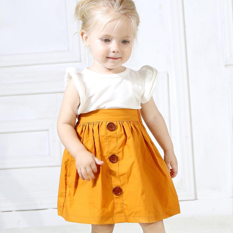 Baby Clothes Sets 2PCS Girls Suits INS Summer 2019 Fly Sleeve Solid Color Tops All Match Skirts Princess Dress Kids Clothing Children Q76