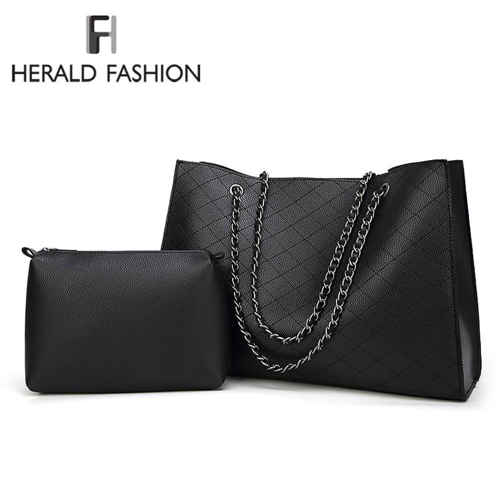 a903ad7b9bf Herald Fashion Leather Bags For Women Luxury Handbags New Designer Big Tote  Bag Chain Female Shoulder Bag Set Bolsa Feminina Shoulder Bags Cheap  Shoulder ...