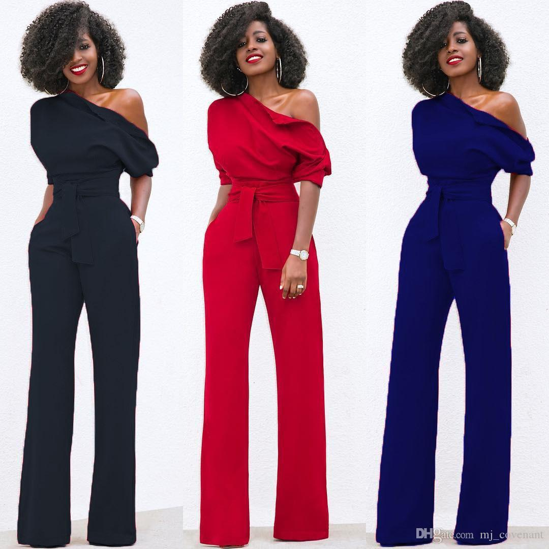 Womens Ladies Clubwear Playsuit Bodysuit Party Jumpsuit Romper Wide Leg Long Trousers Black Red Blue