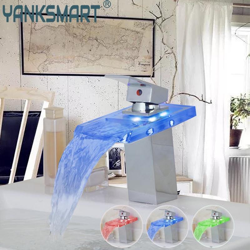 Badezimmer Becken Wasserhahn LED Licht Wasserfall Glas 3 Farben Chrom Deck  Montiert Waschbecken Becken Wasserhahn Torneira Wasserhähne Mischbatterien