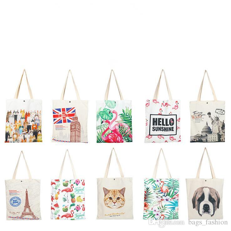 Fashion Ladies Girls Casual Canvas Shoulder Bag Popular Cotton Linen Environmental Women Travel Cosmetics Shoes Cloth Storage Bag