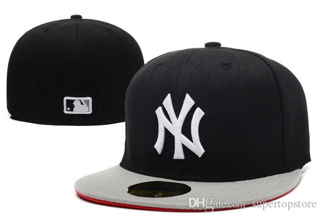 53176c1fe32 2018 ny Fitted Caps with black top gray color Brim Men s Sport Team Baseball  NY Full Closed Design Hats Bones Cheap Men s Women