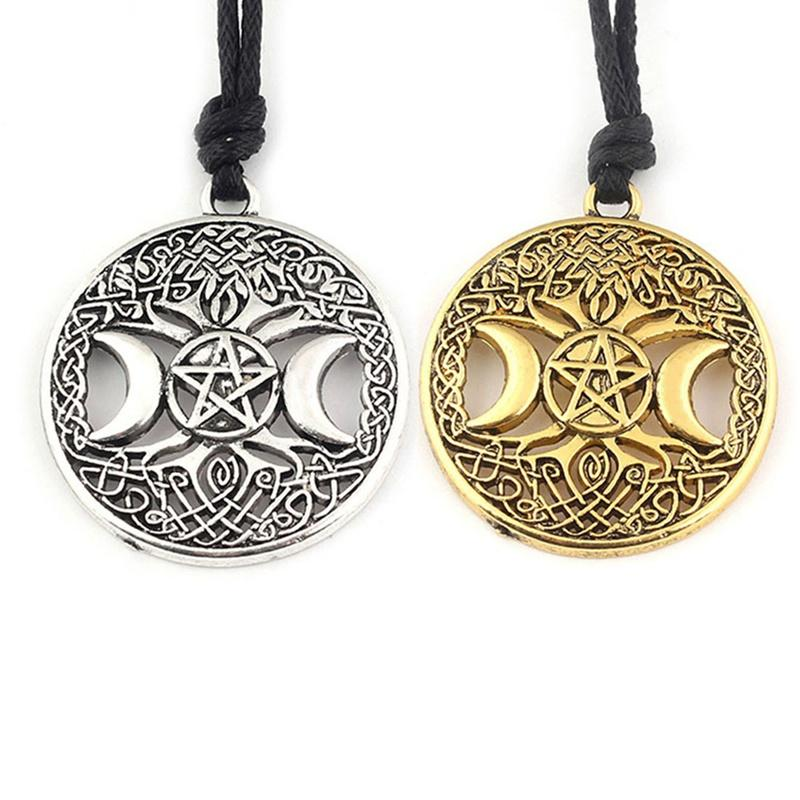 116c7445c7b4 Compre Nuevo Árbol De La Vida Dorado   Astilla De Color Nórdico Vikingos  Collar Colgante Nudo Pentagrama Pentáculo Estrella Luna Collar Colgante A   32.86 ...