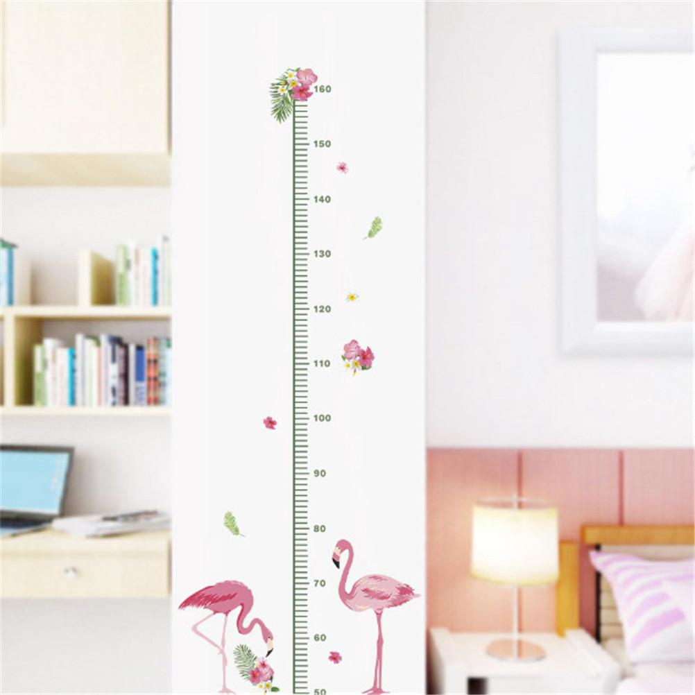 1pc cartoon Animals Flamingos Height Measure Wall Sticker Kids Rooms bedroom Growth Chart Nursery Room Decor Wall Decals Art
