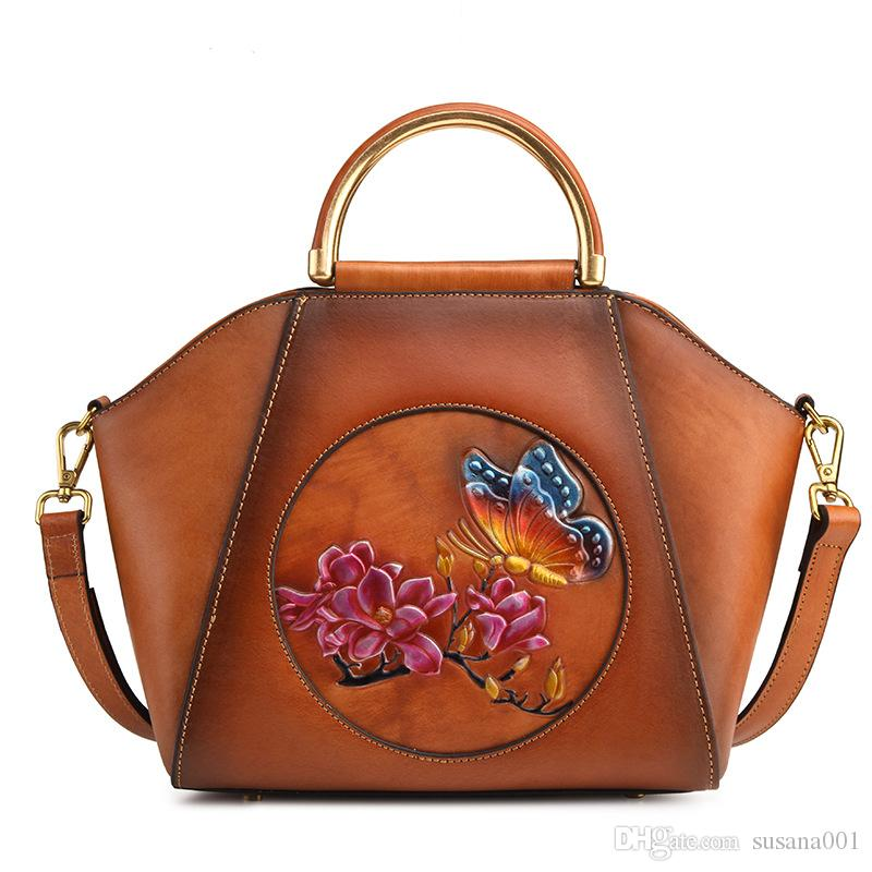 STXL New retro leather ladies bag shoulder slung portable female suede leather casual shell handbag SNB614