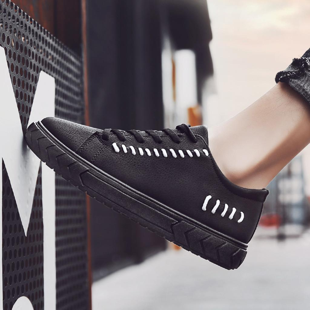 4e1325618b817 2019 Men Fashion Solid Leather Casual Round Toe Solid Lace Up Board Shoes  Fashion Lace Up Loafers Breathable Spring Summer Black Red Shoes Footwear  From ...