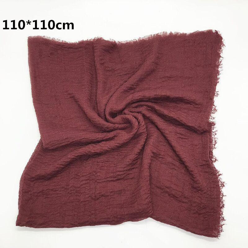 Women Cotton Square Scarf Plain Wrinkle Crinkle Pleated Hijab Scarf with fringes Popular Muslim Muffler Shawls Wraps