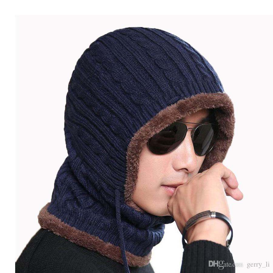 757b21f1 Adult Winter Hat And Scarf Set For Women Men Hooded Cap Scarves Adjustable  Knitted Beanies Skullies Bonnet Mask Neck Warm Sets ZYF DM 26 Beard Beanie  Beanie ...