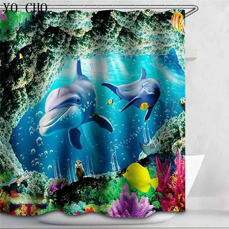 2019 Shower Curtain Dolphin Bath Animal Fabric 3d WaterProof Shark Whals Sea Turtle Blue Cartoon For Bathroom Hooks C18112201 From