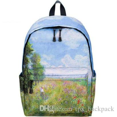 Poplars Backpack Claude Monet Day Pack Trees on the Grass School Bag ... 8bf5aaae61d36