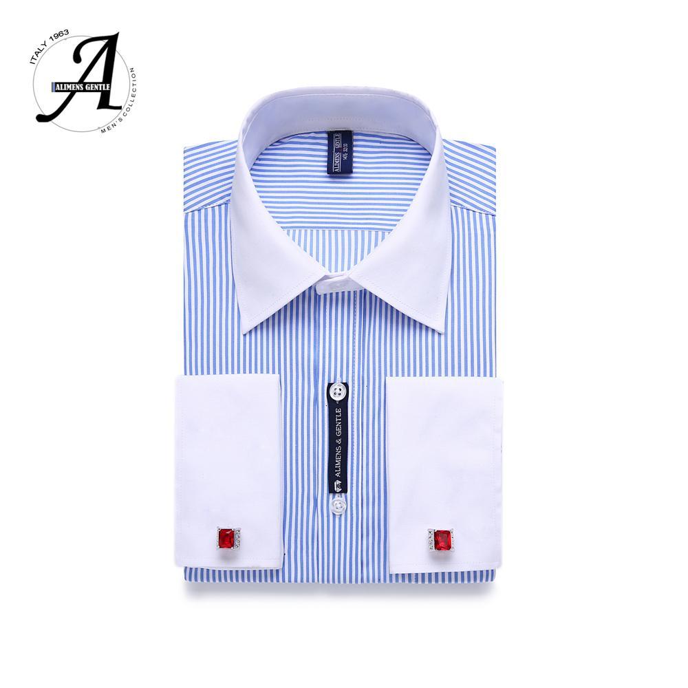 c48e43cd258b 9XL 7XL 6XL Hombres de rayas Gemelos franceses Camisa de vestir informal  Manga larga Cuello blanco Estilo de diseño Para hombre Camisas de vestir de  ...