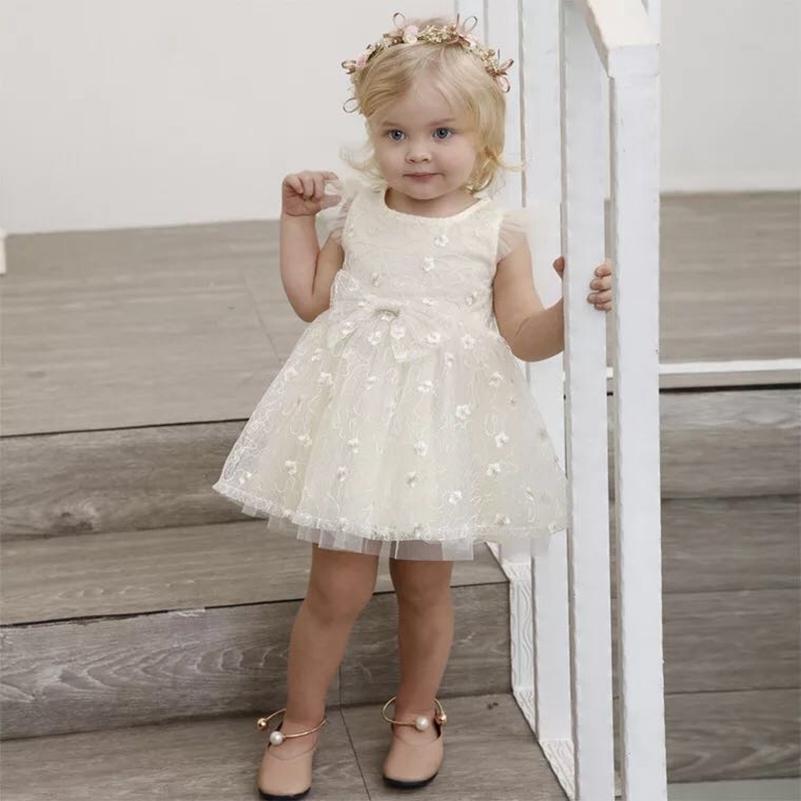 Baby Mädchen Geburtstag Party Kleid Hohe Qualität Nette Babykleidung Großen Bogen Floral Schöne Party Hochzeit Weiße Kleider Für Mädchen