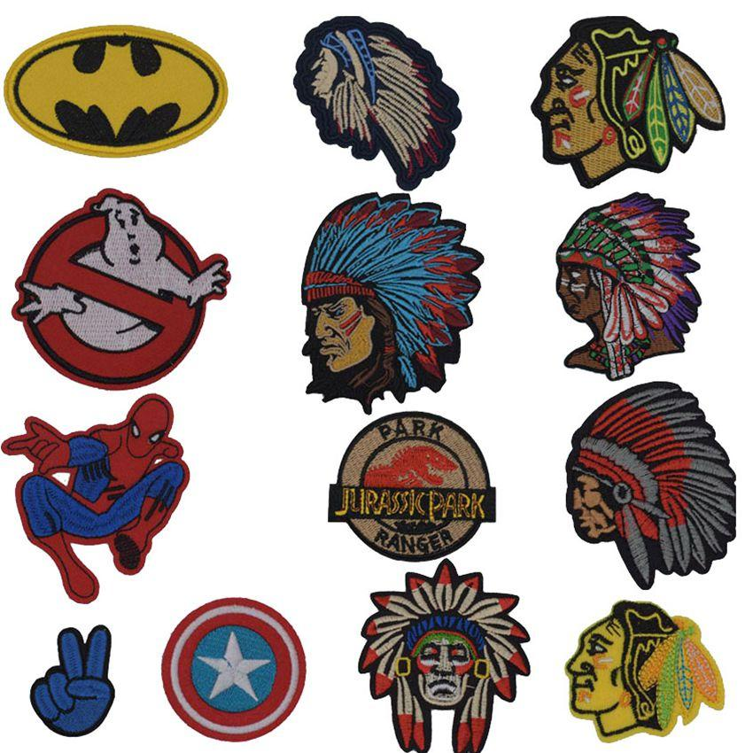 New Batman Indian Spiderman Embroidery Finger Patch Ghost Skull Iron On Patches Badge For DIY Jacket T-shirt Decor Accessories