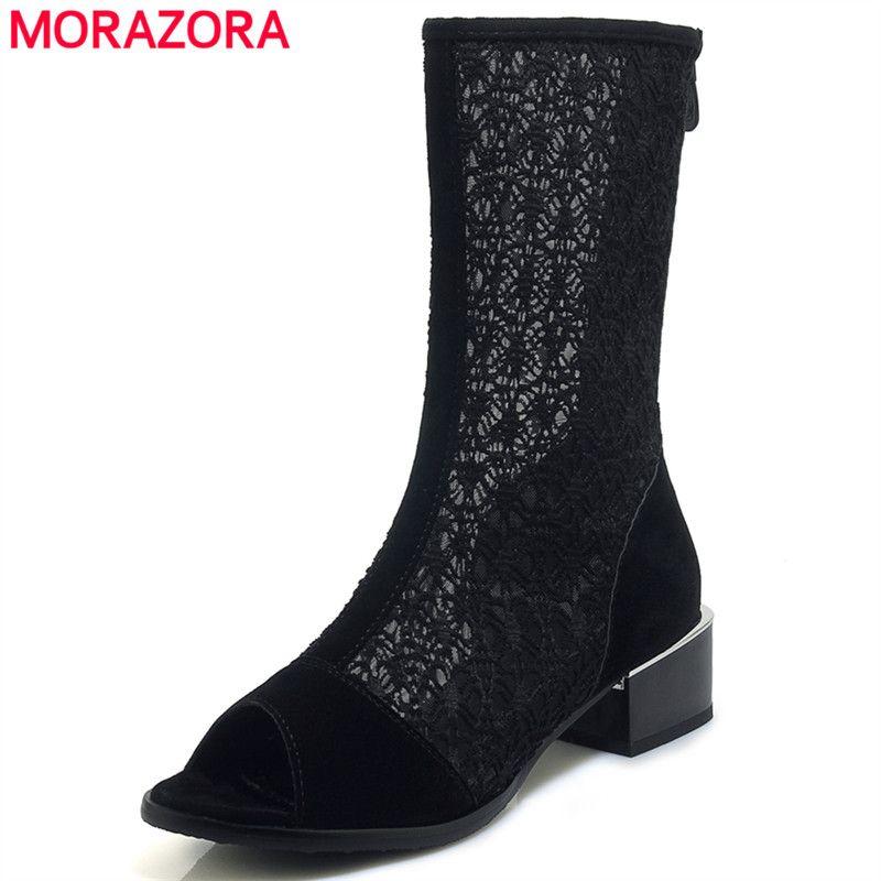 87b6d7a580 Compre MORAZORA 2019 Tamanho Grande 33 43 Ankle Boots Mulheres ...
