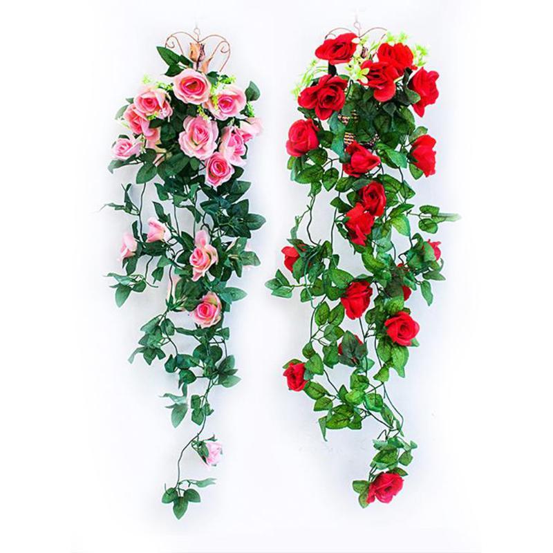 홈 웨딩 장식 가짜 잎 DIY 행잉 화환 꽃 녹색 잎 1 개 인공 꽃 장미 아이비 덩굴