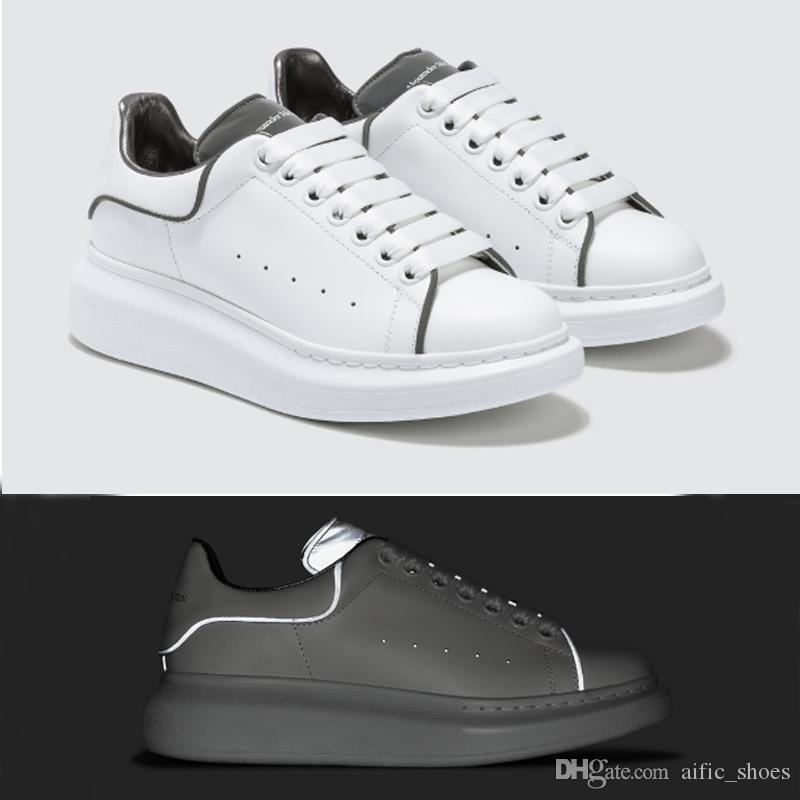 225eed98707437 Luxury Designer Shoes White Sneakers Platform Shoes Genuine Leather Trainers  Reflective White Trainers For Men Women Flat Casual Shoes Cheap Shoes Shoes  For ...