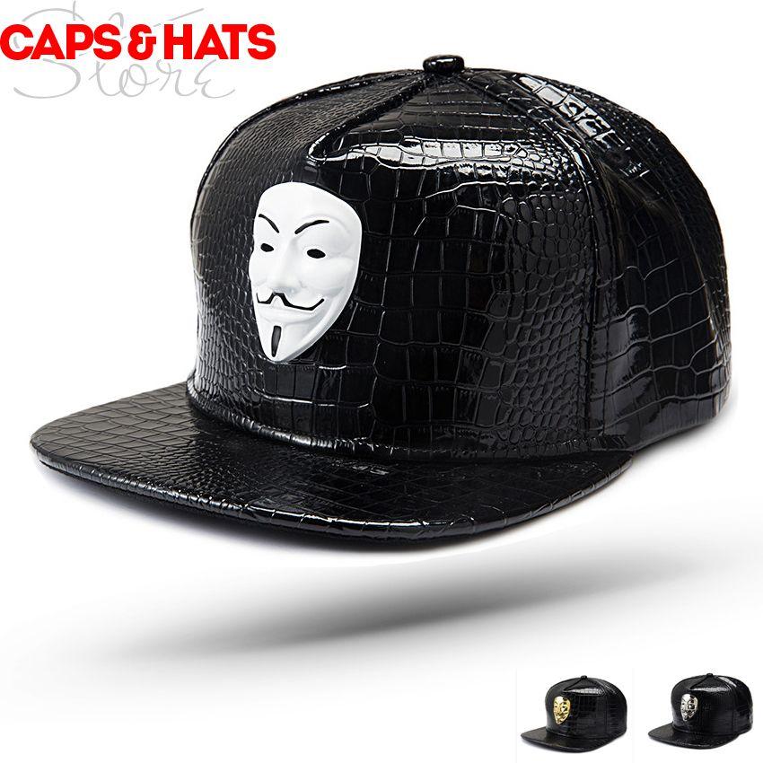 8e1dc51acb2e 2019 V for Vendetta Leather Cap Hats Caps Men Gorras Mujer Gorra Hip Hop  Visera Plana PU Snapback Black Gold White