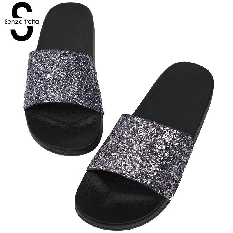 52b63cd67d1892 Senza Fretta 2018 Women Summer Home Slippers Flip Flops Peep Toe Sandals  Glitter Sandals Platform Ladies Shoes Zapatos Mujer Flat Shoes Biker Boots  From ...