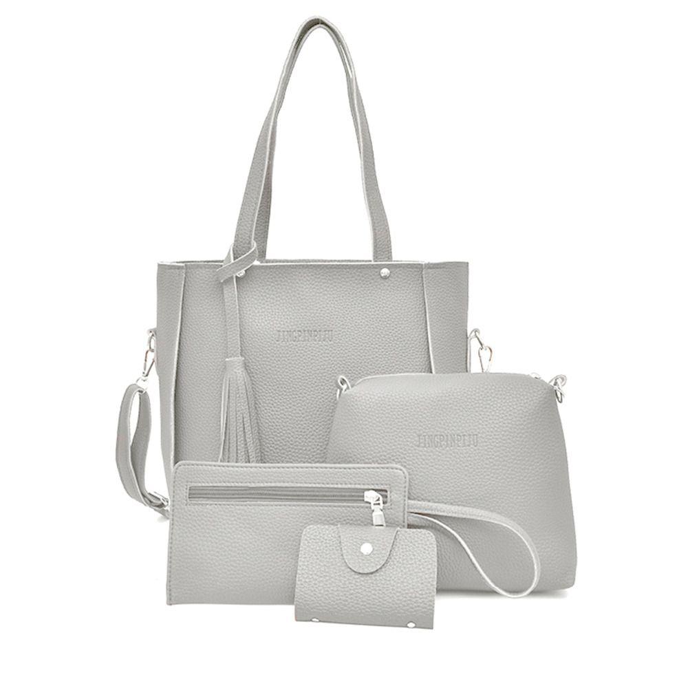 193f1e608203 Fashion Women Ladies Litchi Pattern PU Leather Tassels Handbag + ...