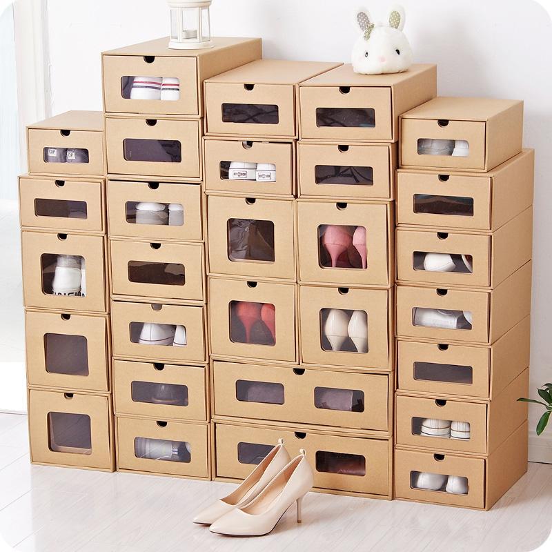 2019 kraft paper diy assembly drawer shoe box organizer men women rh dhgate com