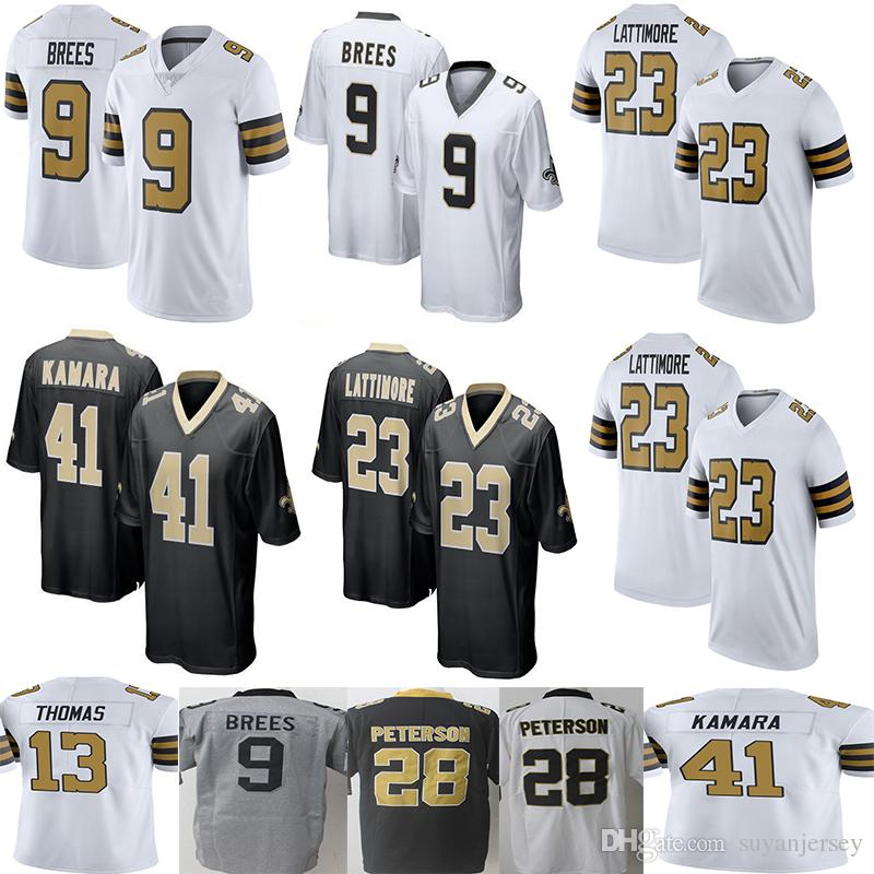 New Saints 9 Drew Brees 41 Alvin Kamara Saints Jersey Men S 23 Marshon Lattimore 13 Michael Thomas 28 Peterson Limited Jerseys