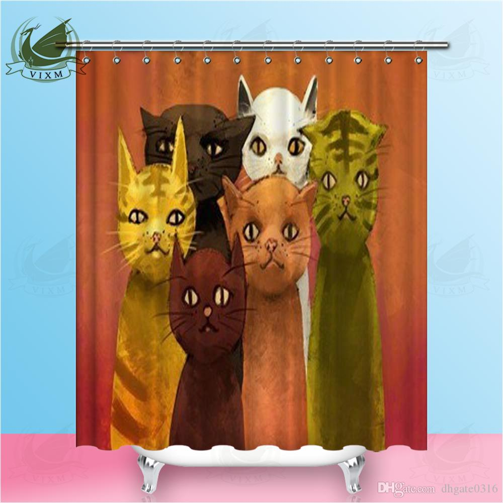 Vixm Cat Peacock Lion Head Abstract Original Oil Painting Shower Curtains Waterproof Polyester Fabric Curtains For Home Decor