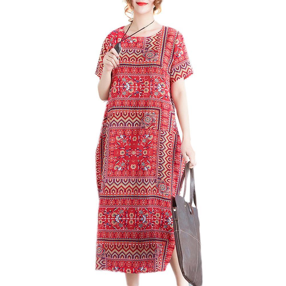 37ace296bf22 2019 New Vintage Print Loose Maxi Dress O Neck Short Sleeve Side Pocket  Summer Dress 2019 Slit Baggy Plus Size Long Dress Red Black Dress Womens  Cocktail ...