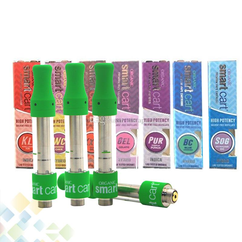 Smart Cart Cartridge 1 0ml Ceramic Coil 510 Thick Oil Smartcarts Vapor  Green Tank Top Filling No Leakage Design Atomizer DHL Free