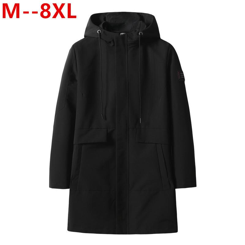 8XL 6XL 5XL Men Big Size Casual Veste longue Printemps Automne Homme d'affaires Windbreak mince Outwear Parka en vrac Varsity Manteau de bombardier