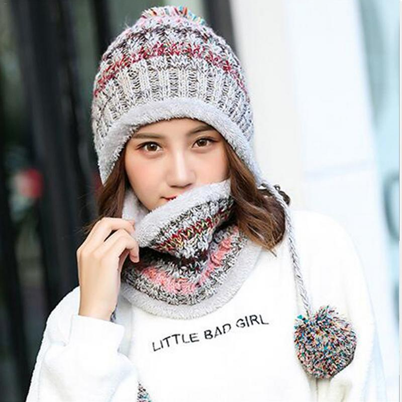 25237233b2553 Fleece Lined Women Knit Beanie Scarf Set Girls Winter Ski Hat With Earflaps  Warm Hat Wool Hats For Girls Winter Autumn Caps Cap Shop Knitted Hat From  Copy04 ...