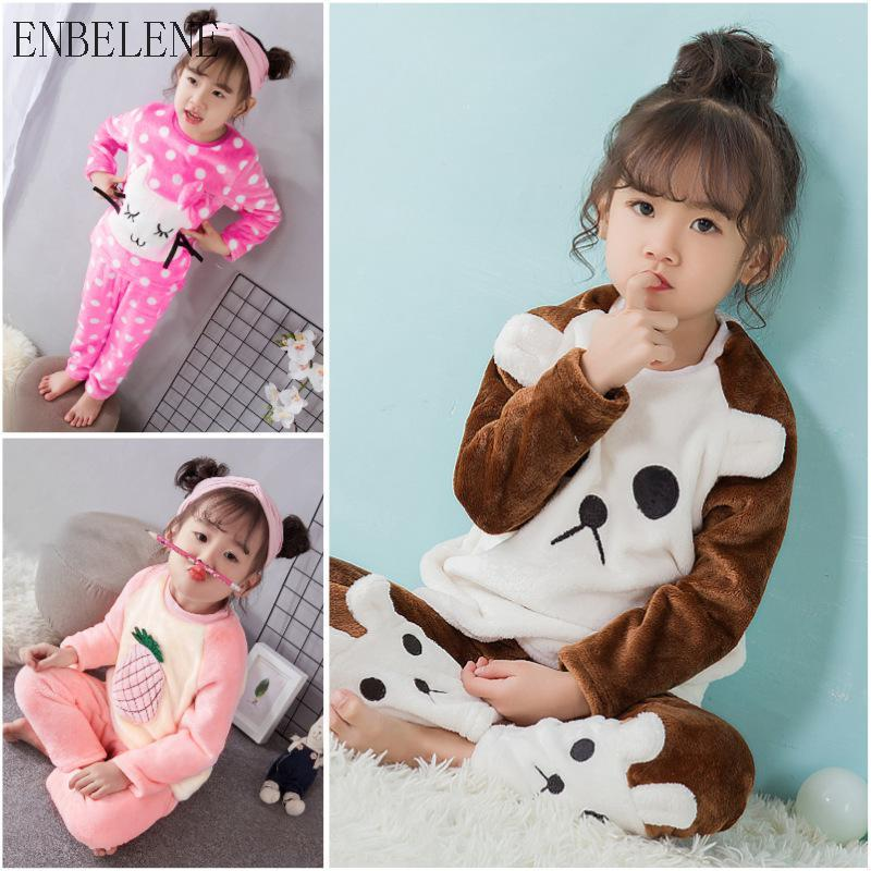d992e9aa03b7 Winter Pajamas Flannel Children Sleepwear Sets For Girls Cartoon Nightgowns  Pink Red Autumn Fleece Lining Kids Sleepwear FJ162 Silky Pajamas For Girls  Kids ...