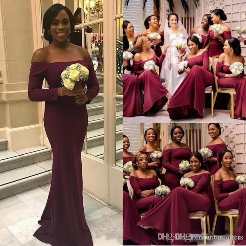 a3d9f9a7273 African Chiffon Burgundy Bridesmaid Dresses Off The Shoulder Long ...