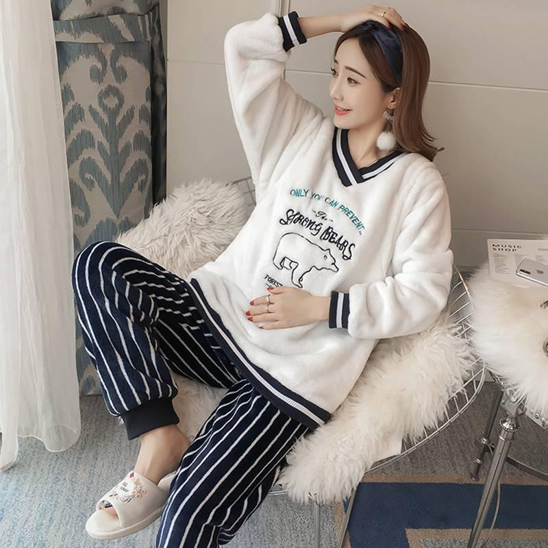 0c44245cc5db2 2019 Maternity Wear Autumn And Winter Plus Velvet Simple V Collar Moon Suit  Home Clothes Pregnant Women Pajamas Set From Sunmye, $59.09 | DHgate.Com