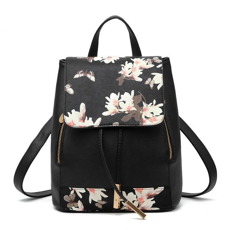 Lovely2019 Shoulders Both School Wind Leisure Time Backpack Trend Ma'am Package Pu Texture Of Material