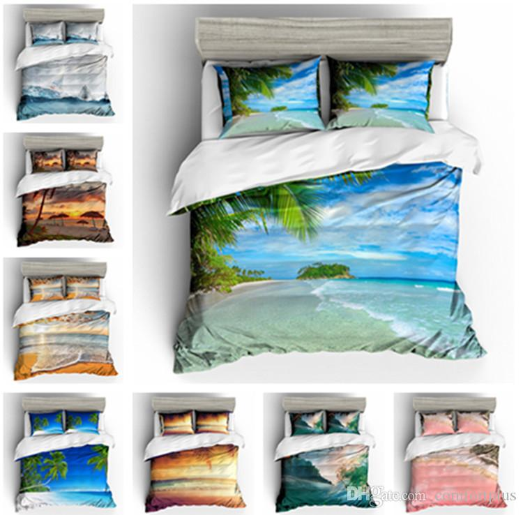 3D Beautiful Beach Design Bedding Set 2PC/3PC Duvet Cover Set Of Quilt Cover & Pillowcase Twin Full Queen King Size
