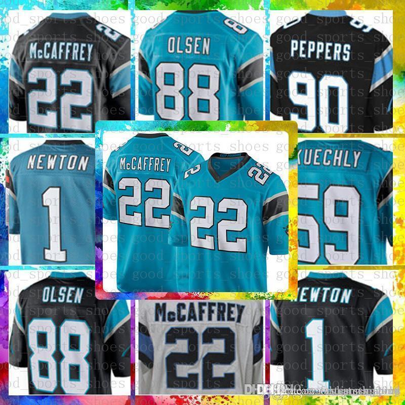 official photos 2e417 3663e Top Sale 22 Christian McCaffrey Carolina Jersey Panthers 1 Cam Newton 59  Luke Kuechly 90 Julius Peppers 88 Grey Olsen 58 Davis 13 Benjamin