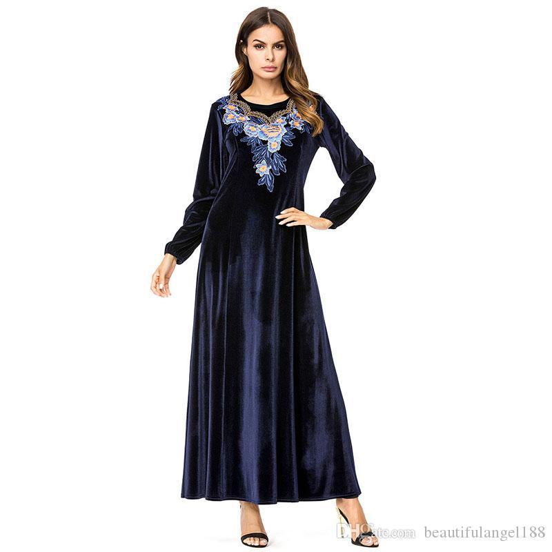 1c345c4963ca4 Satın Al Kadife Nakış Uzun Elbise Bahar 2019 Maxi Elbiseler Kısa Zarif Yüksek  Bel Bir Çizgi Salıncak Kadın Elbise Lacivert, $30.66   DHgate.Com'da