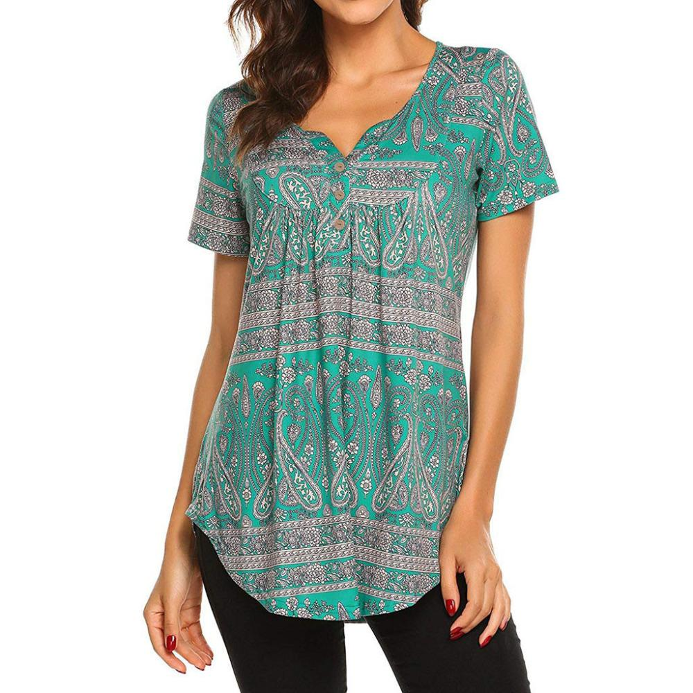 8efc5e48e32f8 Womens Short Sleeve Print Tops Ladies Casual Flare Tunic Shirt That T Shirt  But T Shirts From Lotustoot, $44.18| DHgate.Com